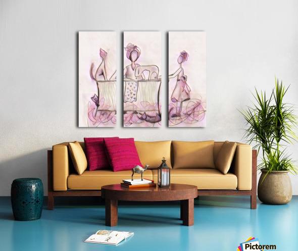 La couturière et ses chats Split Canvas print