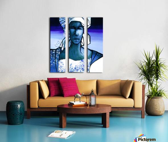 femme au turban bleu Split Canvas print