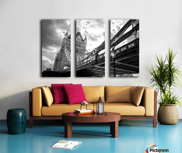 The Might of Tower Bridge Black and White Split Canvas print
