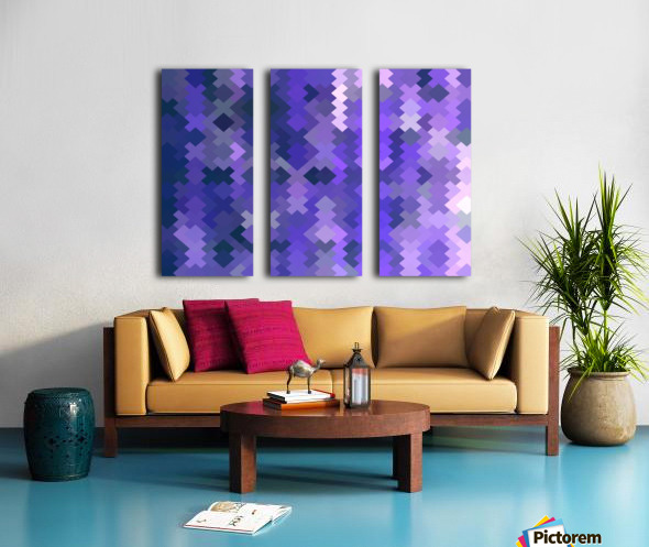 geometric square pixel pattern abstract in purple Split Canvas print