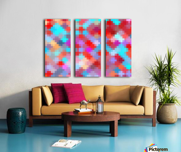 geometric square pixel pattern abstract in pink red blue Split Canvas print
