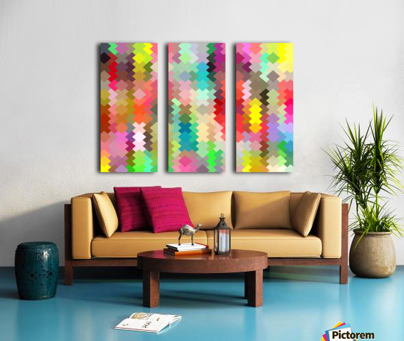 geometric square pixel pattern abstract in red blue green yellow Split Canvas print