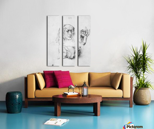 Study sheet with self-portrait, hand, and cushions Split Canvas print