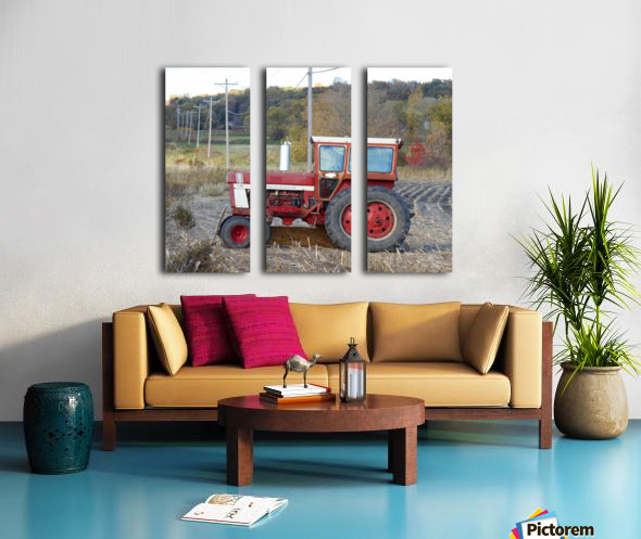 Tractor and Telephone Poles Split Canvas print