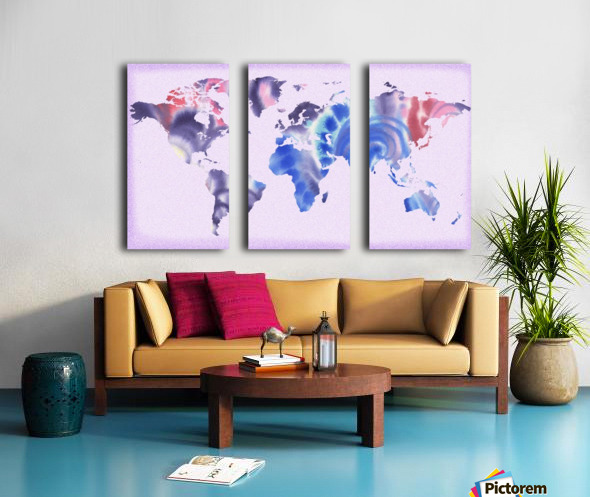 Watercolor Silhouette World Map Lilac Blue And Purple Split Canvas print