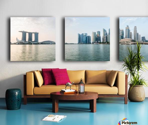 Panorama of Singapore skyline at sunrise Split Canvas print