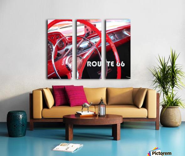 1957 Bel Air Interior - Route 66 Chrome Split Canvas print