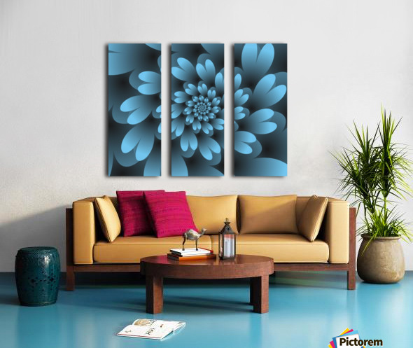 Blue Floral Satin Wallpaper Split Canvas print