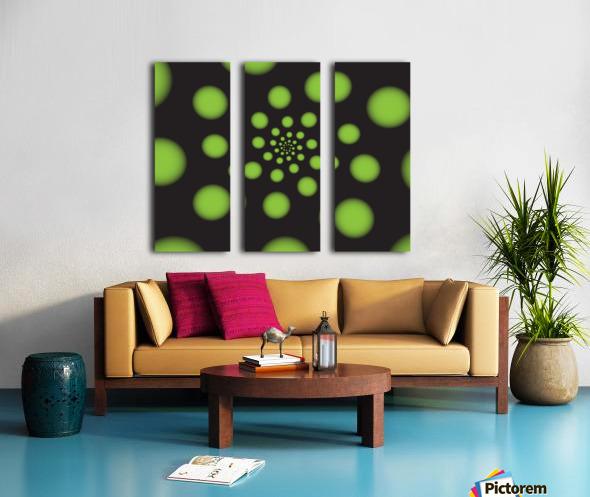 Green Spiral Dots Split Canvas print