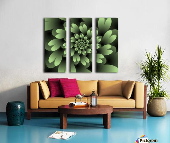 Green Floral Satin Wallpaper Split Canvas print