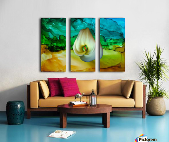 Alcohol Ink and Lily II Split Canvas print