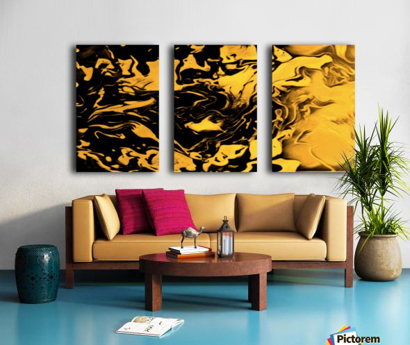 Richer fusion - gold and black gradient abstract wall art Split Canvas print