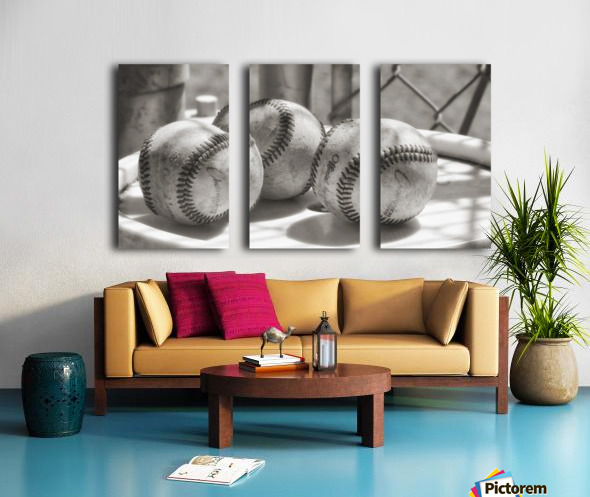 3 Baseballs on a Bucket in Sepia Split Canvas print