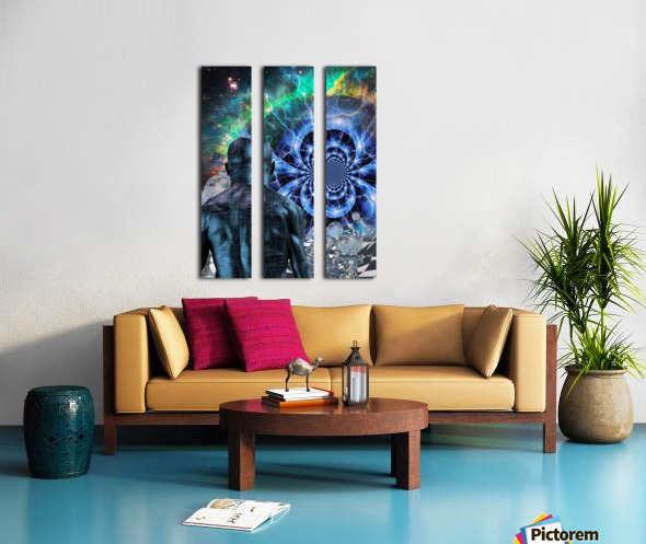 Cyborg in Surreal Space Split Canvas print