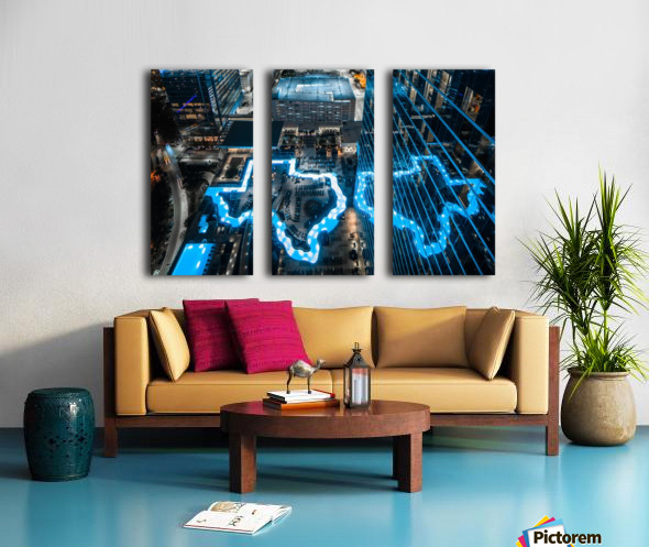 Texas River Hotel Pool Night Split Canvas print
