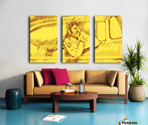 A drawing Of Elvis Presley In a Car Painted Yellow.    Split Canvas print