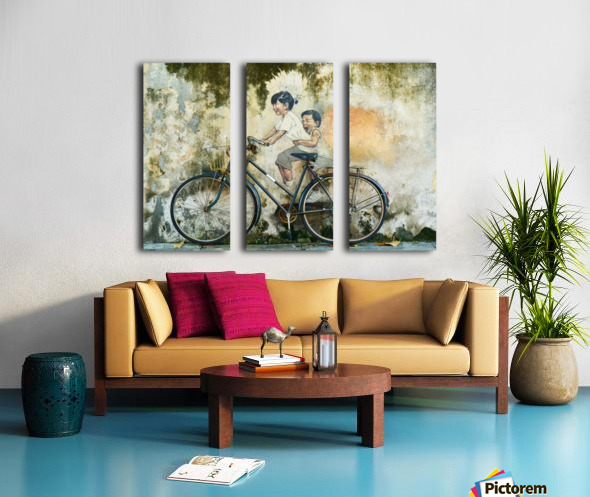 Kid And His Sister On A  Bicycle  Painting   Split Canvas print