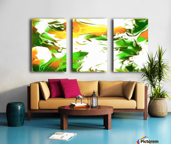 Legendary - green gold and white abstract swirls wall art Split Canvas print
