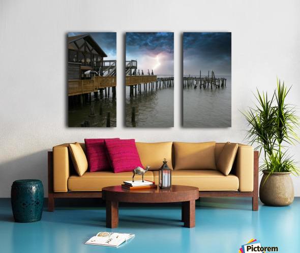 Lightning over Pier Split Canvas print
