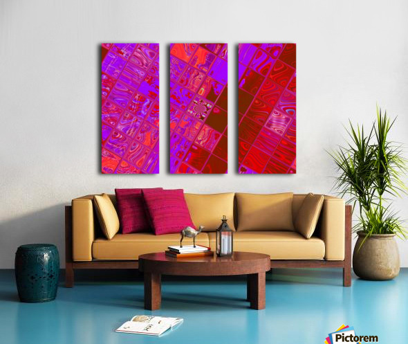 Red Psychedelic Squares 1 Split Canvas print