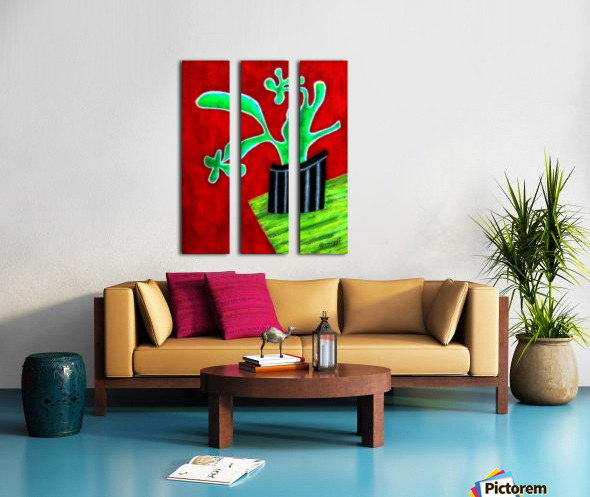 Cactus on Green Table Split Canvas print