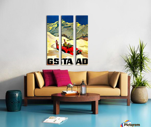 Vintage Travel - Gstaad Split Canvas print