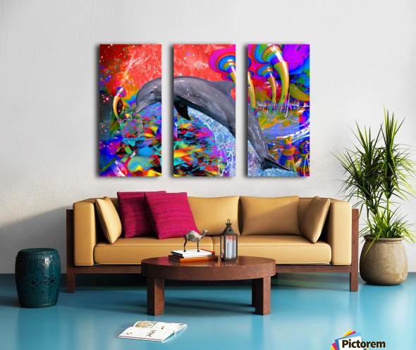 Dolphin Color Splash Split Canvas print