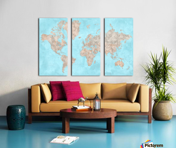 highly detailed watercolor world map in neutrals and light blue Split Canvas print