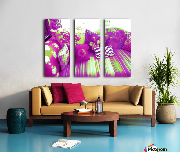 Sofa & Pillows -- Purple & Green Split Canvas print
