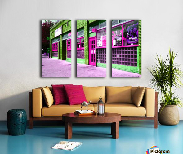 Atlanta Street Scene -- Fuchsia & Lime Split Canvas print