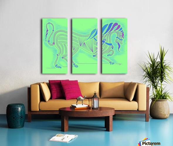 RARIN' TO GO--Blue on Green Split Canvas print
