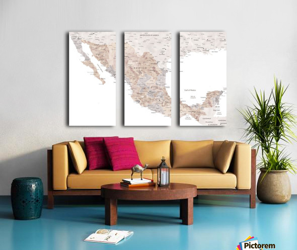 Detailed map of Mexico in neutral watercolor Split Canvas print