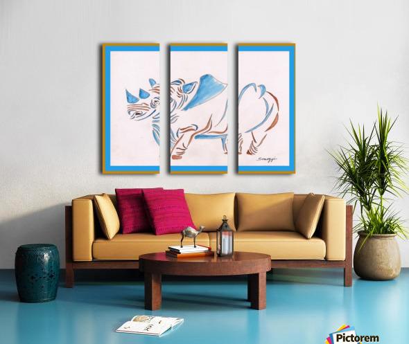 Do Rhinos Come in Blue Split Canvas print