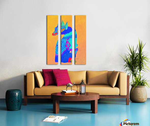 Blue Cat Split Canvas print