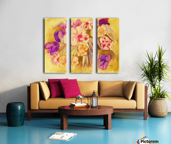 Floral pansies Split Canvas print