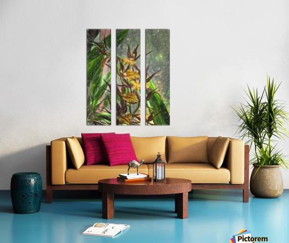 Hawaiian Orchids Color Pencil  Split Canvas print