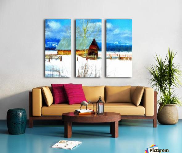 Winter Homestead Watercolor  Split Canvas print