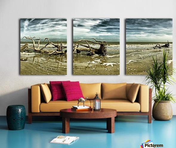 Driftwood Beach Panorama 103 Blackgold Split Canvas print