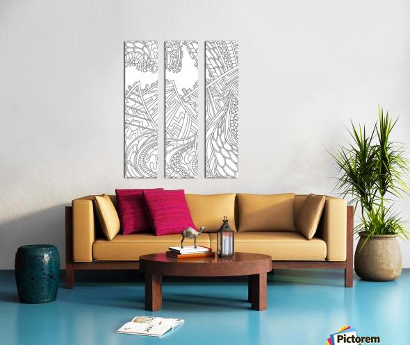Wandering Abstract Line Art 01: Black & White Split Canvas print