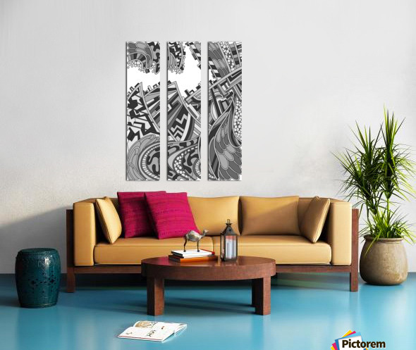 Wandering Abstract Line Art 01: Grayscale Split Canvas print