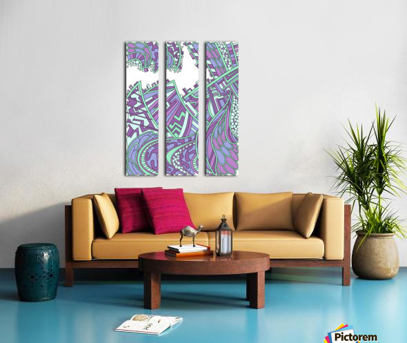Wandering Abstract Line Art 01: Purple Split Canvas print
