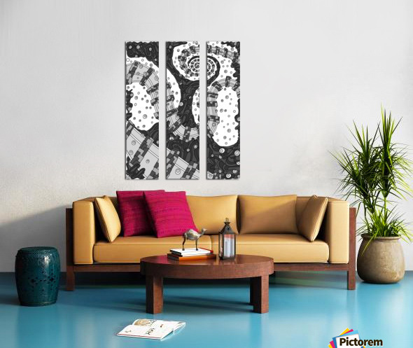 Wandering Abstract Line Art 02: Grayscale Split Canvas print