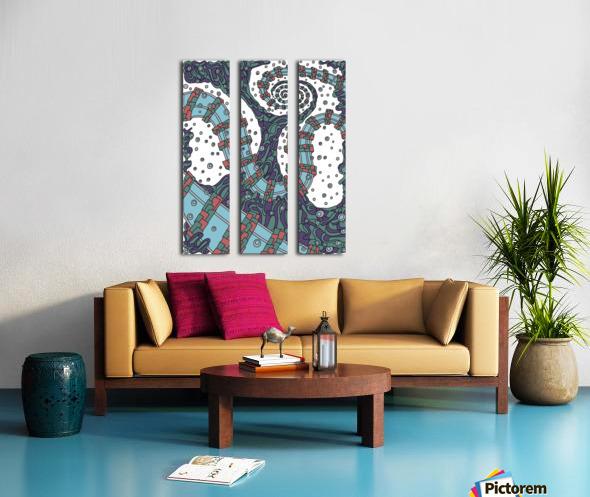 Wandering Abstract Line Art 02: Blue Split Canvas print