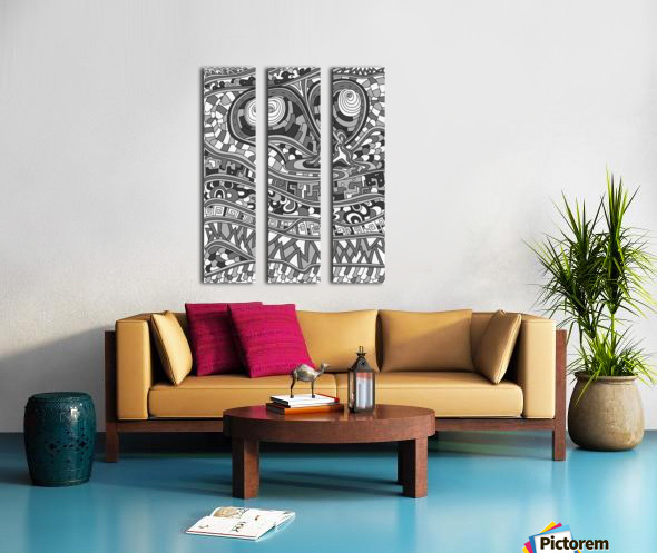 Wandering Abstract Line Art 03: Grayscale Split Canvas print