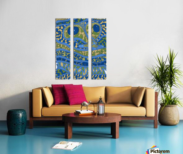 Wandering Abstract Line Art 03: Blue Split Canvas print