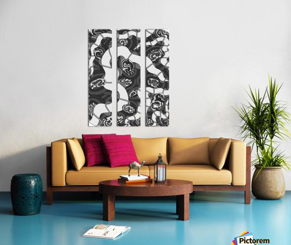 Wandering Abstract Line Art 04: Grayscale Split Canvas print