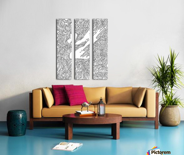 Wandering Abstract Line Art 05: Black & White Split Canvas print