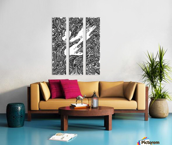 Wandering Abstract Line Art 05: Grayscale Split Canvas print