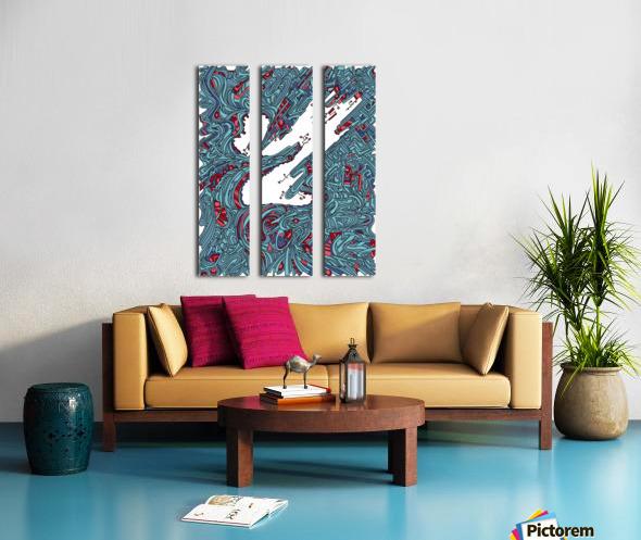 Wandering Abstract Line Art 05: Blue Split Canvas print