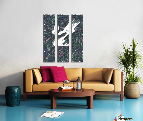Wandering Abstract Line Art 05: Green Split Canvas print
